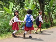 Kids returning from school on the slopes of the Ijen Plateau.