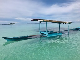 boat full of water, kayaking, kayaking the Banyak Islands, Sumatra, Indonesia