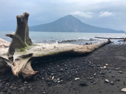 Beach on Anak Krakatau, Krakatau, Krakatoa, volcano, Indonesia, volcanic beach