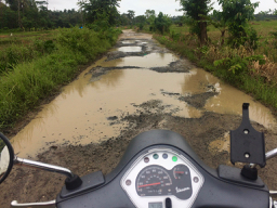 Vespa, Ujung Kulon, National Park, Tamanjaya, Taman Nasional, trekking, Indonesia, rough road