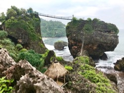 Bamboo bridges at Pantai Siung, south Java